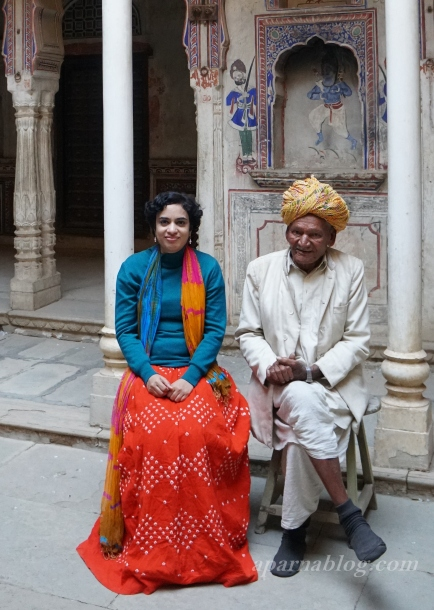 With Ramuji - caretaker of Bhagat Haveli.